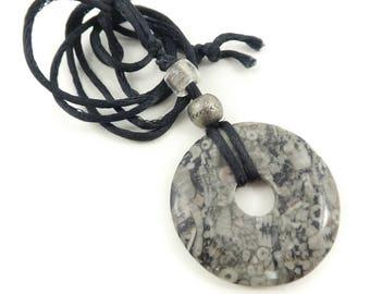 Vintage, Grey Stone, Necklace, Donut Bead, Black Cord, STO73