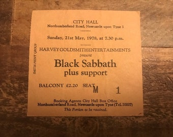Black Sabbath - Original 1978 Ticket Stub!!!!!