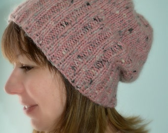 Pink wool Tuque / Hat 100% wool / Beanie / Tuque two ways / accessory winter / A.tricote