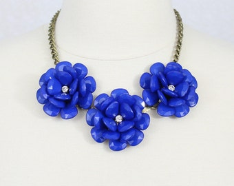 Blue Statement Necklace Beaded Rose Necklace Chunky Flower Necklace Collar Necklace Rosette Necklace Three Flower Necklace