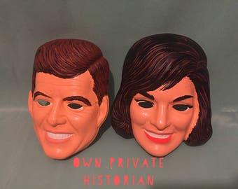 1960s Pair JFK & Jackie Halloween Masks - John F. Kennedy - Jacqueline Kennedy Onassis - Vintage