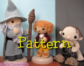 Gandalf, Bilbo, and Gollum Crochet Amigurumi Pattern