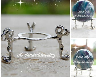 Crystal Ball Display Stand, Silver Three Legged Claw Foot Sphere Holder, Decorative Egg, Globe, Orb Tripod Display