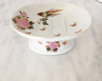 Ceramic Soap Dish, Pedestal Soap Dish, Asian Decor, Pink Floral Decor, Bath Decor, Made in Japan