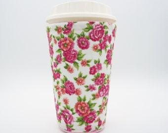 Insulated coffee cozy, Shabby chic coffee cup holder, Coffee cuff, Floral coffee cozy, Cup sleeve