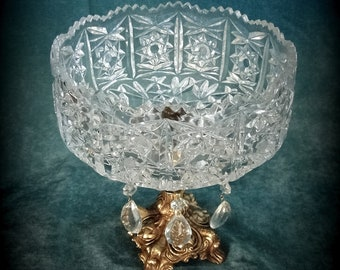 Vintage Crystal Compote on Brass Toned Stand with Saw Tooth Edge - Excellent