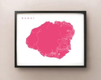 Kauai Map Print, Kauaʻi Hawaii Poster, Kauaʻi, Polynesian, Hawaiian, Kapaʻa, Kalalau, Wainiha, Hanalei, Home Decor, City Wall Art, Gift Idea