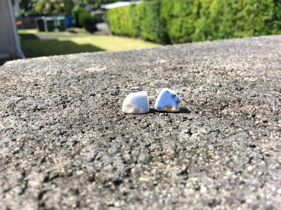 Surf Tumbled Blue Sea Pottery Stud Earrings