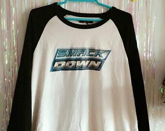 Smack Down Baseball Long Sleeve Tee - Original Wwe 90s 00s