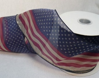 Patriotic, Old Glory patriotic wired ribbon , 4 inch wide, 5 yards