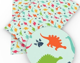 Blue Dino Faux Leather Sheet