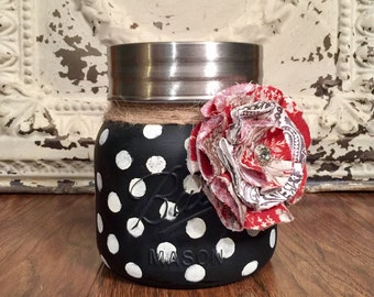 Mason Jar Decor, French Country Decor, Painted Mason Jar, Kitchen Canisters, Mason Jar Canister, Kitchen Decor, Country Decor, Cookie Jar