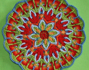 Crochet Overlay Mandala  No. 1 Pattern, PDF in English, Deutsch, Espanol