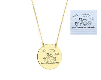 """Mommy gold necklace - personalize gold monogram necklace 1"""" gold plated 18k on .925 silver Mom Gift Handwriting"""