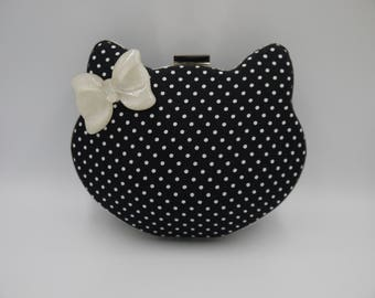 Cat Kitty Shaped Clutch Bag Black Polka Dot Bow Hello Kitty Inspired Silver White Glitter Clamshell Novelty Evening Purse