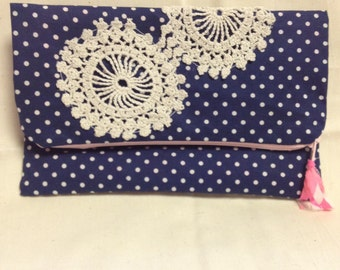 Navy with white polka dots and doilies foldover clutch bag