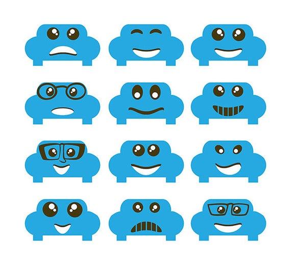 Cute Cars Clipart Emoji Clipart Smiley Car Emoji Image Vector