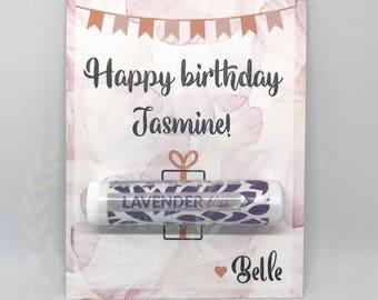 Handmade Happy Birthday Card - {Customizable Happy Birthday Card with Organic Lip Balm Gift}