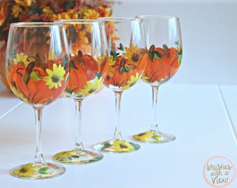 Thanksgiving Decor,Thanksgiving Table, Pumpkin Decor,Table Centerpiece, Fall Decor, Thanksgiving Wine Glasses, Thanksgiving, Ready to Ship