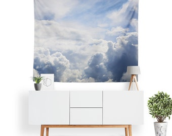 Clouds Tapestry | Cloud Tapestry | Nature Wall Decor | Fluffy Clouds | Boho Tapestries | Nature Photography | Blue Sky | Sunshine
