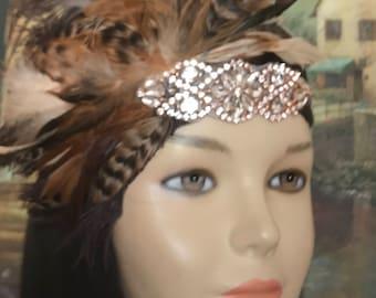 Gatsby headpiece/1920s headpiece/flapper headpiece/Rose Gold headpiece/Wedding headpiece/Rhinestone headpiece/hair accessories/Voranica