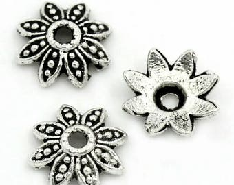 50 Flower bead caps Silver bead caps Silver flower spacer beads 8mm bead caps Beading supplies Jewelry supplies 8 Petals flower bead caps