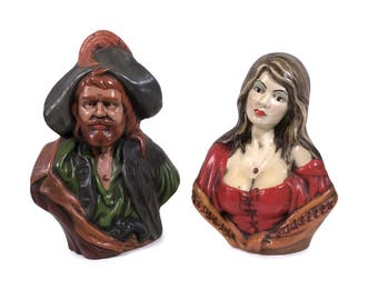 "Mid Century Pirate & Wench Bust Folk Art Ceramic Sculpture Set, 10"" Tall"