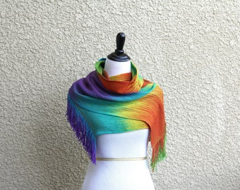 Handwoven scarf, woven rainbow scarf, gay scarf in red green blue purple extra long scarf with fringe, gift for her, gift for him