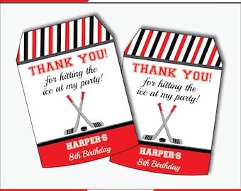 Hockey Party Favor Tags - Hockey Birthday - Hockey Party Favors - Thank You Tags - Favor Tags - Hockey Party - Printables (Instant Download)
