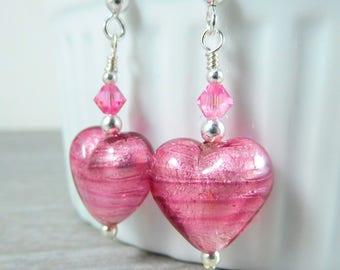 Heart Earrings, Pink Murano Glass Earrings, Valentine's Day Earrings Valentine's Jewelry Romantic Earrings Valentine's Day Gift Under 25 GRJ