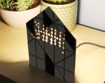 Geometric lamp, Black white lamp, Cottage lamp, Design lamp, Bedside table lamp, Gift for him, Nordic design lamp, Office lamp, Wooden lamp