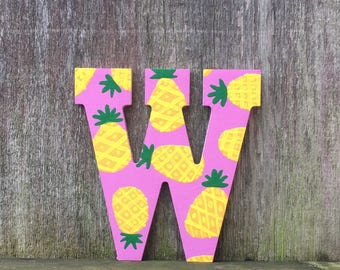 pineapple letters, pineapple decor, pineapple print, pineapple monogram, pineapple wall art, pineapple party, pineapple gift, fruit print