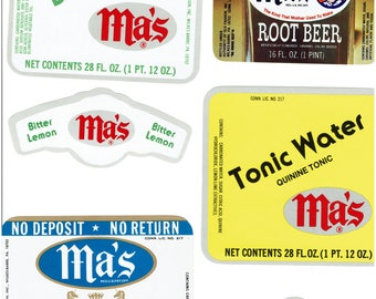 6 Soda Bottle Labels from the 1890's to the 1950's.  Ginger Ale, Orange, ect.   a