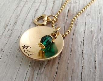 Personalized Mother's Jewelry, Gold Hand Stamped Necklace, Grandmother, Grandma, Christmas Gift