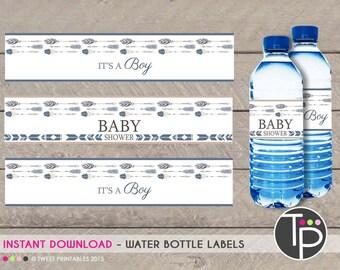TRIBAL WATER BOTTLE Labels, Arrow Water Bottle Labels, Tribal Arrow Baby Shower, Print yourself water bottle labels, Boy Baby Shower