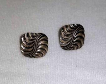 """Swirl Wave Antiqued Silvertone 5/8"""" Earrings"""