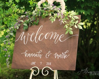 Hand Lettered Wood Wedding Welcome Sign