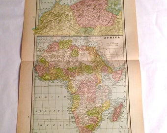 """Large 1893 Antique Map of Africa and North Africa engraved by George F. Cram from the Atlas """" The Pacific Coast and The World"""" 1892 Chicago,"""