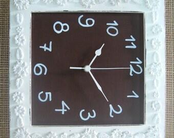 Cream & brown Wall Clock Shabby Chic