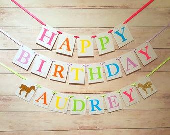 Pony Birthday Banner Pony Birthday Theme Rainbow Party Rainbow Pony Girl Birthday Banner Horse Birthday Horse Banner Name Banner Pastel