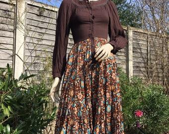 Original WALLIS 1970s ethnic patterned hippie brown midi dress ballooon sleeves UK 6 8 xs s