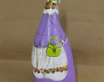 Hand painted Gourd art doll, cute round artifacts naive whimsical travel souvenir decorative