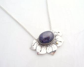 Star Ruby Lotus Necklace - Sterling Silver Pendant, 14k Gold with Wheat Chain, Purple Statement Piece