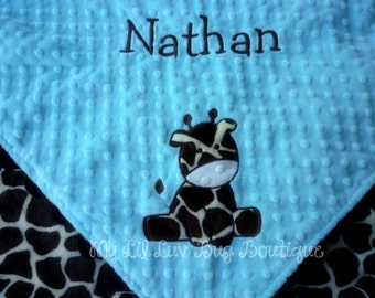 Minky baby blanket - personalized aqua blue and brown giraffe print, 30x35 stroller blanket