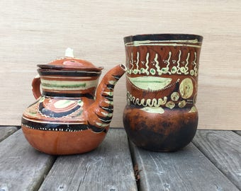 1950s Mexican Border Teapot and Cup