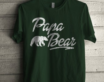 Men's Papa Bear Shirt Printed Unisex Adult Fathers Day Graphic T-shirt #1313