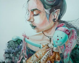 ORIGINAL watercolour painting,Portrait of women,Big picture,fantasy,Gothick style,Maleficent,girl with hare,pointe,portrait of teenager,gift