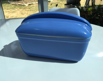 Vintage Blue Hall China Refrigerator Box with Lid made for Westinghouse