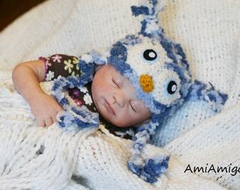 Crochet Blue Fuzzy Owl Hat (6-12m)
