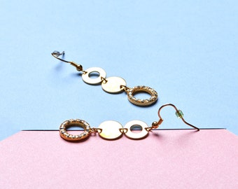 Vintage dangle drop earrings with 3 round circles and rhinestones